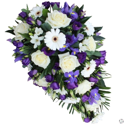 Purple & White Single Ended Funeral Spray