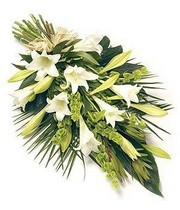 white-lily-longiflorum-tied-sheaf-funeral-flowers-tribute-funeral-delivered-strood-rochester-medway