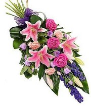 pink-purple-tied-sheaf-funeral-flowers-tribute-funeral-delivered-strood-rochester-medway