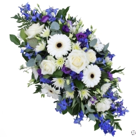 Blue, Purple & White Double Ended Funeral Spray