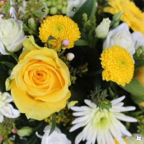 Yellow & White Double Ended Funeral Spray