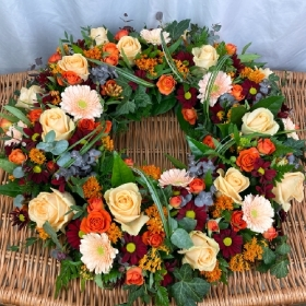 autumn-autumnal-wreath-ring-funeral-flowers-tribute-delivered-strood-rochester-medway