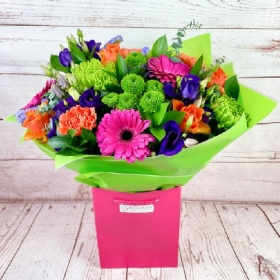 Vibrant-glow-colourful-bright-cheerful-handful-bouquet-delivered-strood-Rochester-medway