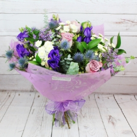 amethyst-gardens-natural-handtie-bouquet-lilac-purple-delivered-strood-rochester-medway