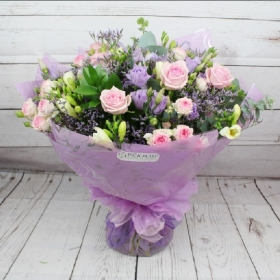 scrumptious-pretty-pink-lilac-handtie-bouquet-freesia-roses-flowers-delivered-strood-rochester-medway