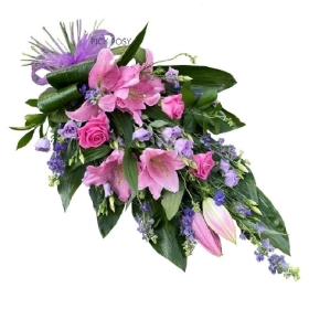 pink-purple-lily-roses-tied-sheaf-funeral-flowers-tribute-delivered-strood-rochester-medway