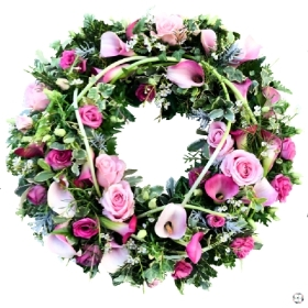Rose & Calla Lily Funeral Wreath