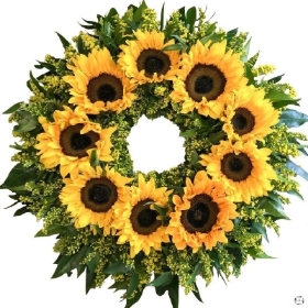 sunflower-wreath-funeral-flowers-tribute-delivered-strood-rochester-medway